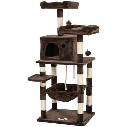 PawHut 146cm Multi-Activity Plush Cat Tree w/ Hammock House Cushion Perch Brown