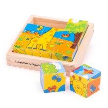 Bigjigs Toys Wooden Safari Cube Puzzle