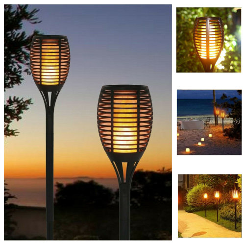4pk Geezy Solar-Powered Flame-Effect Torch Stake Lights
