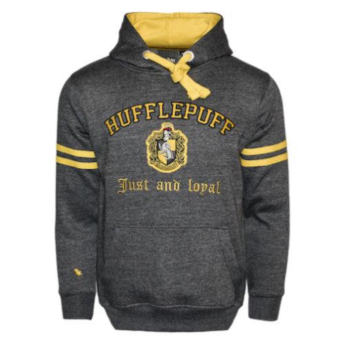 Licensed Unisex Hufflepuff Hooded Sweatshirt-Charcoal