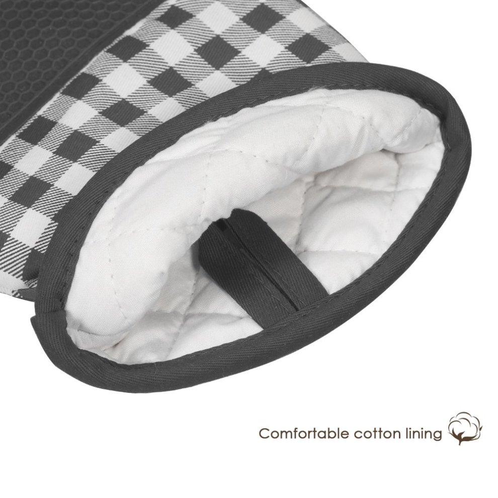 esonmus Heat Resistant Silicone Oven Gloves Non-Slip Oven Mitts 2 Cotton Pot Holders for Kitchen Cooking Baking Grilling Barbecue-Grey Plaid