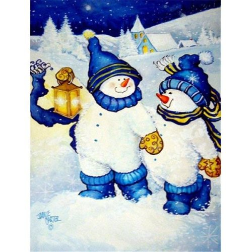 Follow Me Snowman Flag Garden Size