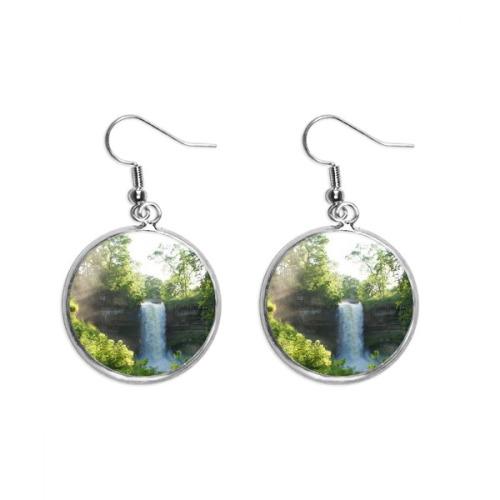 Waterfall Science Nature Forestry Scenery Ear Dangle Silver Drop Earring Jewelry Woman