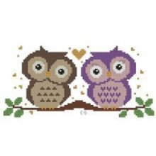 """14 Count Charted Cross stitch """"Abstract Owls in Love""""28x19cm"""