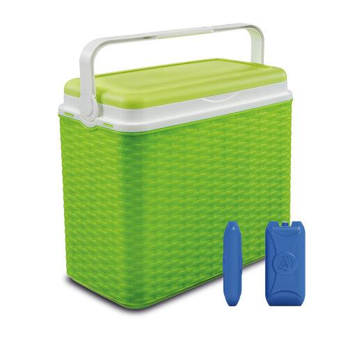 (Green + 2 Ice Packs) 24 Litre Rattan Design Cooler Box Ice Pack Option