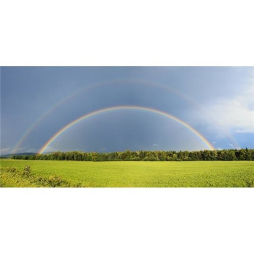 Double Rainbow Over Trees & Lush Green Field - Quebec Canada Poster Print - 44 x 20 in. - Large