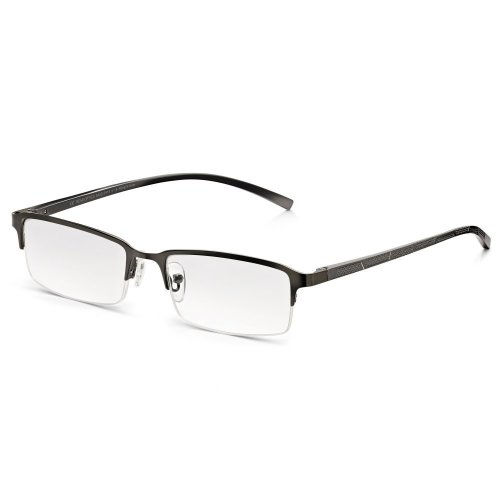 Including Free Case /& Free Microfiber Cloth Black Lightweight Stainless Steel Frame Readers for Men and Women +1.50 Dioptres Half Frame Metal Reading Glasses with Rectangle Lenses