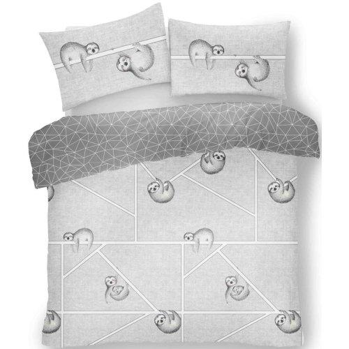 (Single, Grey) Sloth Duvet Cover Pillowcase Single Double King Bedding