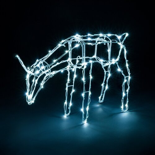 (Grazing) Light Up Reindeer Outdoor Christmas Decoration White Wire LED Standing Grazing