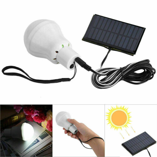 Outdoor Camping Emergency LED Bulb Lights Solar Panel Powered Lamp Set