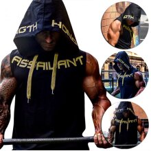 Men's Muscle Hoodie Vest Gym Workout Sleeveless T-shirt