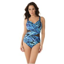 Miraclesuit 6523765-BLU Women's Turning Point Madero Blue Underwired Shaping Swimsuit