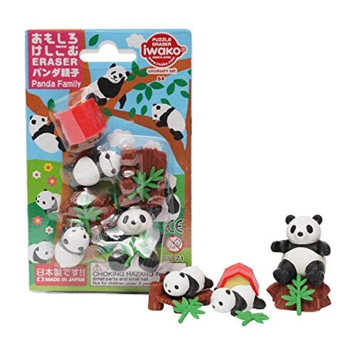 Iwako Novelty Japanese puzzle Erasers set - Cute Panda Family