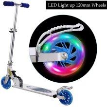 Adjustable Height Kids Folding Scooter LED Light Flashing PU 3 Wheels