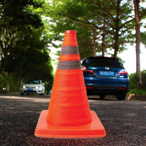 Pop-Up Safety Traffic Cone  18in. Portable, Collapsible Safety Cone - Driving Road Safety Essential