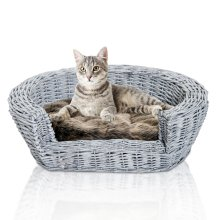 PawHut Elevated Dog Cat Couch Pet Basket Sofa Bed Rasied  Puppy Wicker Willow