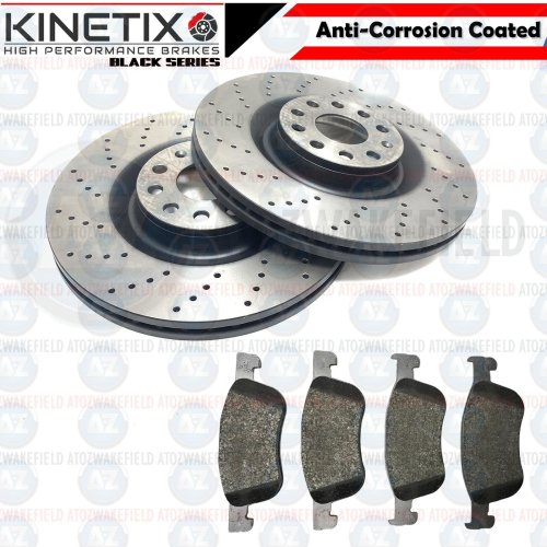 FOR FORD FIESTA ST MK8 FRONT CROSS DRILLED BRAKE DISCS PLATINUM PADS 262mm