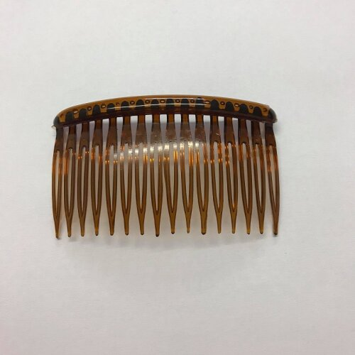 2 x Hair Side Combs 82mm With Grip Brown