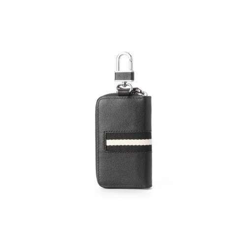 "Hautton Leather Black Contrast Zip Around Key Case 4.0"" Interlocking Hook"