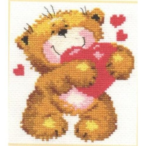 Alisa Counted Cross Stitch Kit - For You... - Bear & Heart