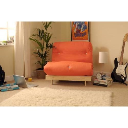 (Orange, Small Single) Comfy Living Albury Futon Sofa Bed