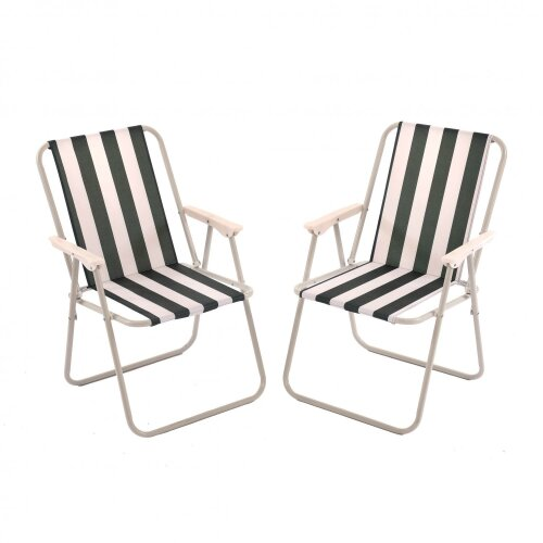 Oypla 2x Stripey Camping Festival Party Folding Outdoor Chairs with Armrests