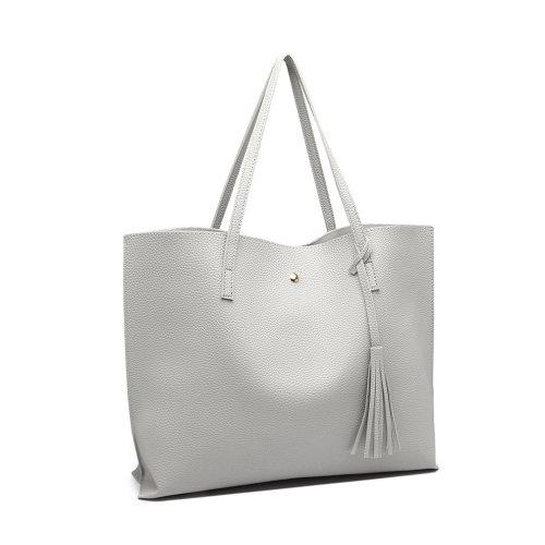 (Grey) Miss Lulu Women's PU Leather Soft Pebbled Handbag