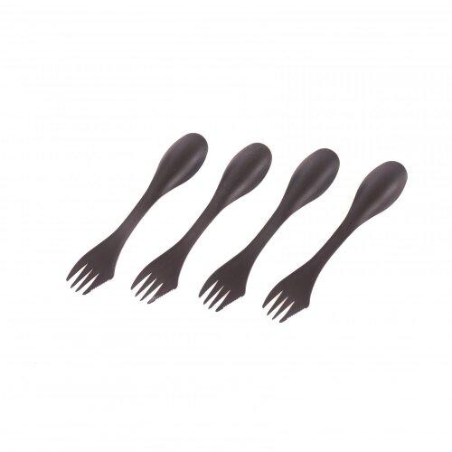 Oypla Set of 4 Black Sporks Camping Cutlery Set Reusable