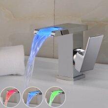 LED RGB Bathroom Sink Mixer Tap Waterfall Basin Temperature Sense