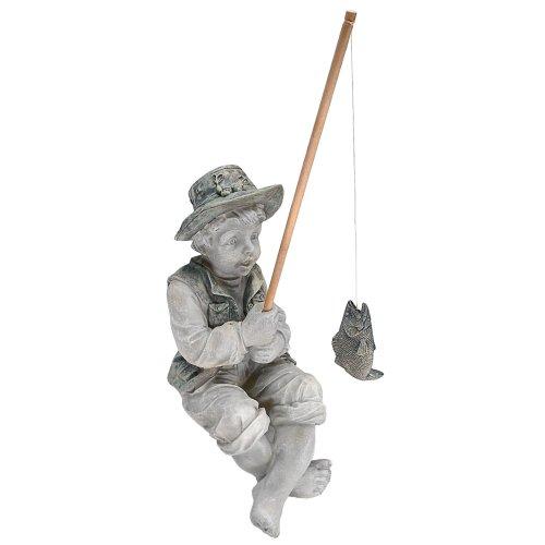 Design Toscano Frederic the Little Fisherman of Avignon Boy Fishing Garden Statue, 38 cm, Polyresin, Two Tone Stone