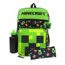 Minecraft Creeper Backpack | Creeper TNT 5 Piece Set | Gamer School Rucksack Lunch Box Pencil & Case Bottle One Size