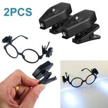 2X Adjustable LED Glasses Spotlight Clip On Eyeglass Lamp Reading Night Light
