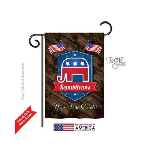Breeze Decor 61071 Patriotic Republicans 2-Sided Impression Garden Flag - 13 x 18.5 in.