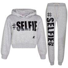 Kids Girls Jogging Suit Designer #Selfie Tracksuit Hooded Crop Top & Bottom 5-13
