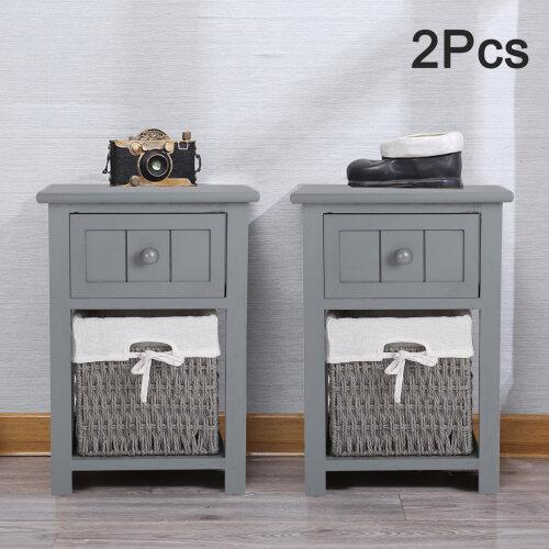 2PCS Modern Bedside Tables Night Stand Cabinet Storage Wicker Basket