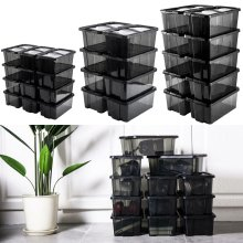 Black Clear Shoe Boxes Stackable Plastic Toy Storage Box Set Organiser With Lid