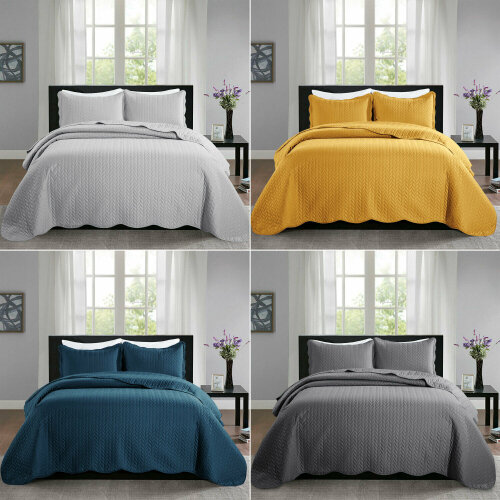 3 Piece Embossed Quilted Bedspread + 2 Pillow Case