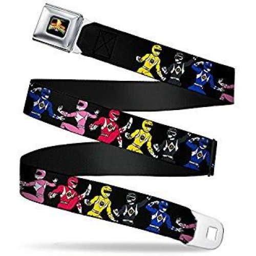 Seatbelt Belt - Power Rangers - V.15 Adj 24-38' Mesh New pra-wpr001