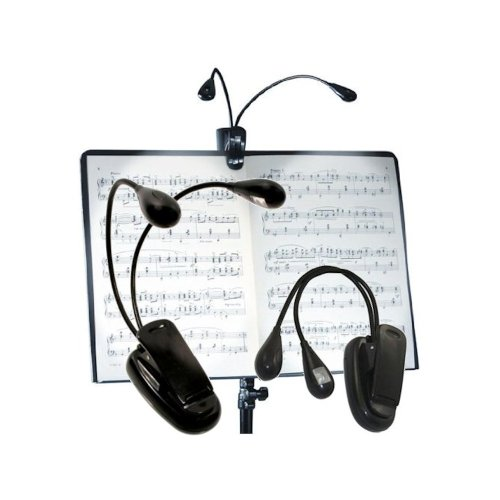 Dual led clip on music stand reading light cordless lights