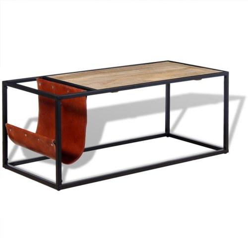 vidaXL Coffee Table with Genuine Leather Magazine Holder 110x50x45 cm
