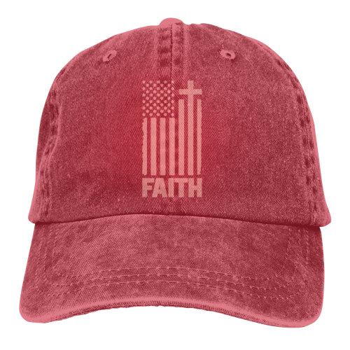 (Red) Distressed Peach USA Flag Denim Baseball Caps