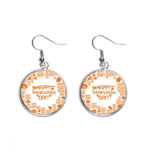 Thanksgiving Day Abstract Word Pattern Ear Dangle Silver Drop Earring Jewelry Woman