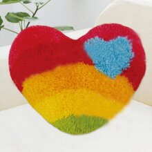 "Latch Hook Kit ""Rainbow Heart"" 52x42cm Shaped"