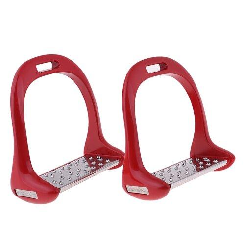 (Red, China) 1pair Anti Slip Aluminium Horse Saddle