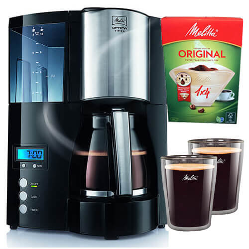 Melitta Optima Timer, 100801, Filter Coffee Machine with Glass Jug, Timer and Programmable Warmer, Black