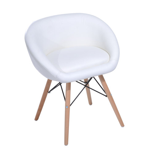 Homcom Faux Leather Chair With Wooden Legs | White Office Chair