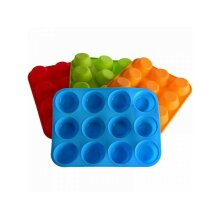 12 SILICONE LARGE MUFFIN YORKSHIRE  CUP CAKE BAKING TRAY