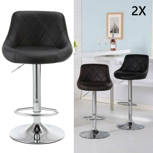 Bar Stools X2 Leather Swivel Bar Stools Gas Lift Rest Chairs Kitchen