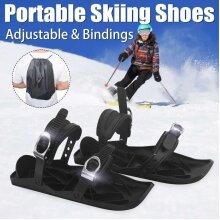 Mini Ski Skates Adjustable Portable Snow Boots Ski Shoes Ski Board