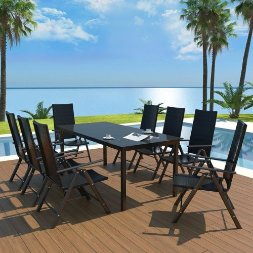 vidaXL Outdoor Dining Set 9 Piece Aluminium and Poly Rattan Table and Chairs